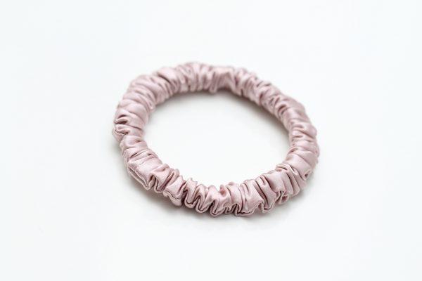 silk7 pink silk scrunchie